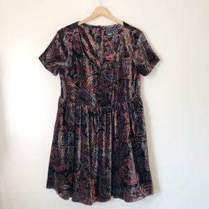 ASOS Brown Paisley print Velvet Mini dress